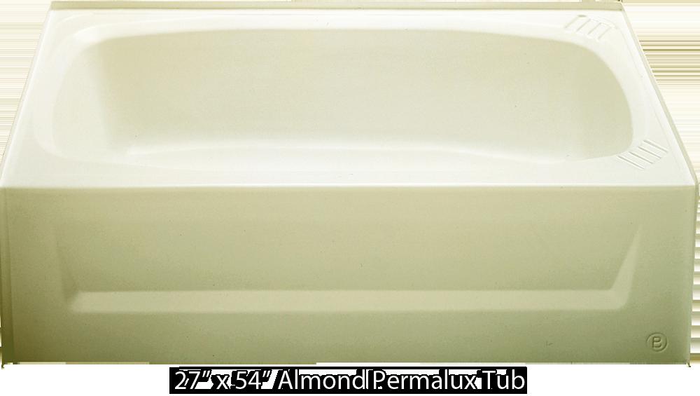 Bathtub 27 x 54 almond permalux tub right hand drain for Best bathtub material